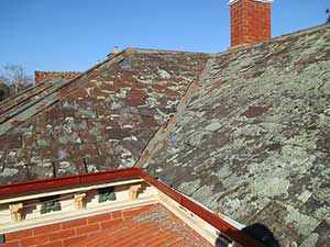 Old slate roof before a new re-roof installation