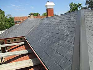 New slate roof after re-roofing